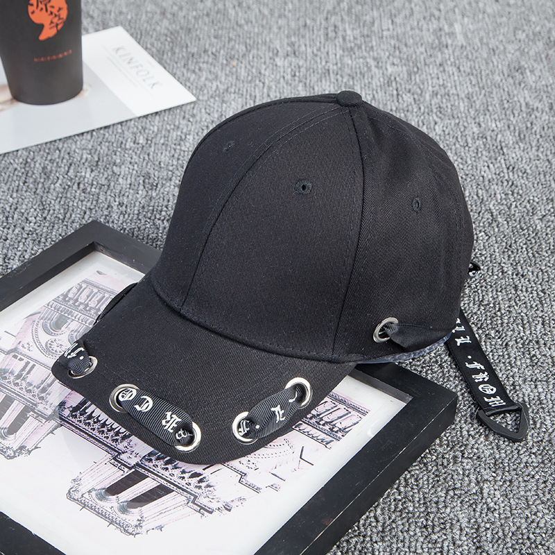5aa1e88ec08 Baseball Hats Men Women Popular Long Tape Leisure Baseball Hat Fashion  Personality Curved Eaves Peaked Cap Hip Hop Cap KPOP Hats-in Baseball Caps  from Men s ...