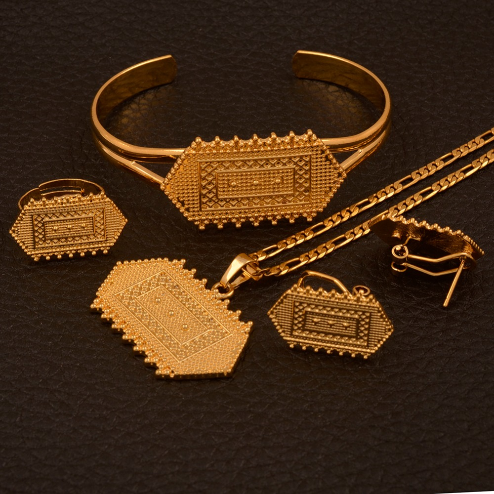 цены Anniyo Habesha Ethiopian Jewelry Sets Gold Color Pendants Necklaces Earrings Ring Bangle African Eritrean Wedding Gifts #115306