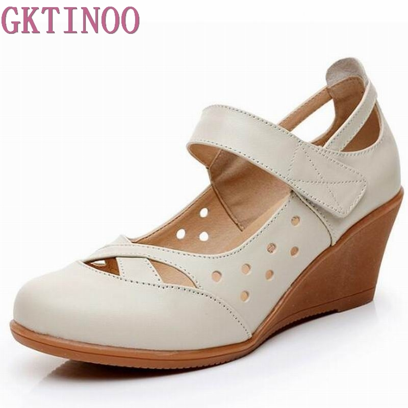 2019 Genuine Leather Women Sandals Shoes Woman Summer Wedge Sandals Women Color Black Sandals Mother Shoes