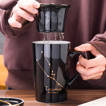 12oz Creative Gold Printing Twelve Constellations Black Coffee Mug Tea Cup With Leak with Lid and Spoon as Gift