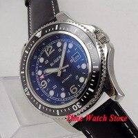 44mm BLIGER herren uhr zifferblatt schwarz keramik lünette lederband MIYOTA Automatische bewegung armbanduhr männer 120-in Mechanische Uhren aus Uhren bei