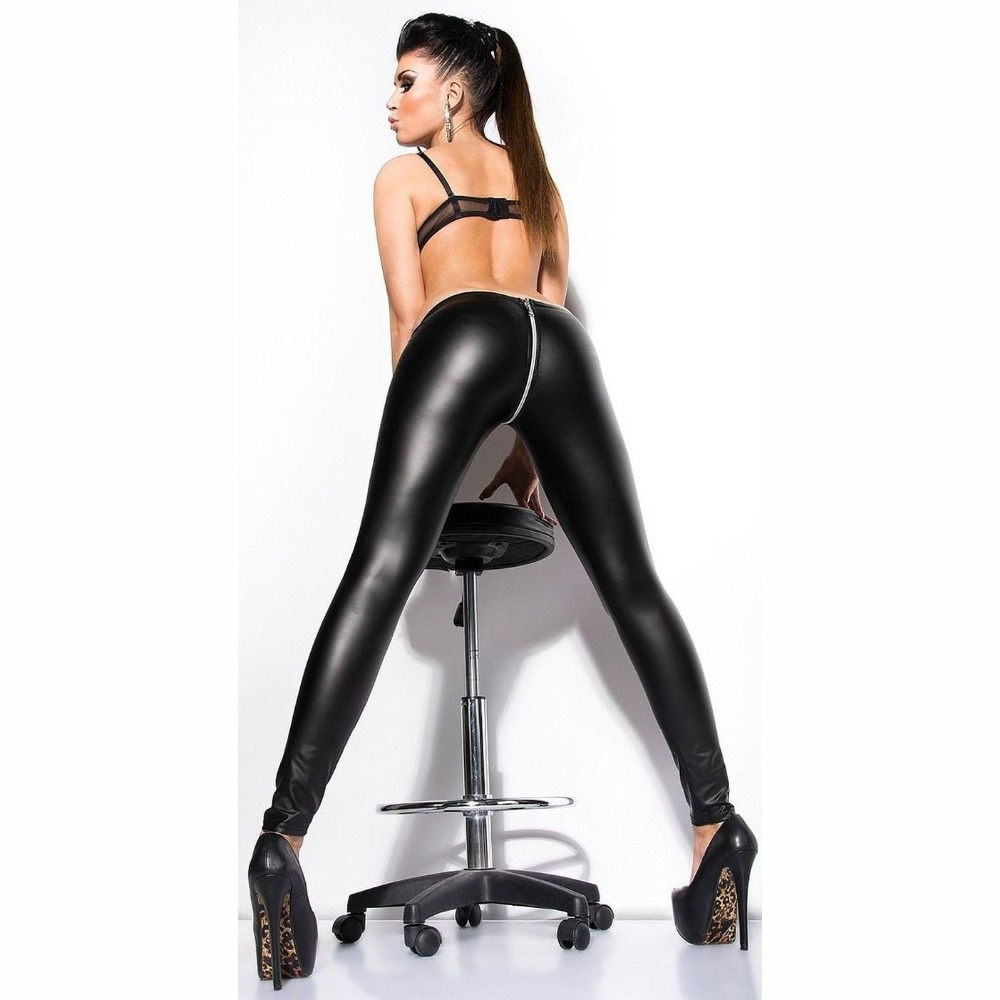 Low Waist Zip Open Cross Crotch Sexy Legging Women Night Club PU Pencil   Pant   Ladies Faux Leather Solid   Capris   Bodycon Hot   Pants