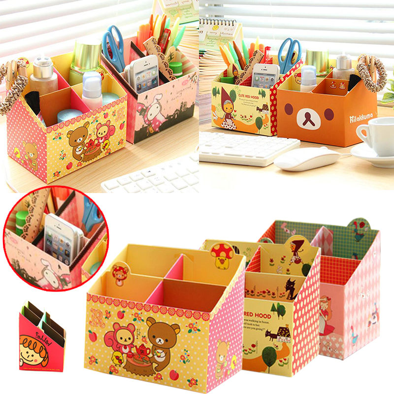 Storage Box Case Paper Office Desk Makeup Cosmetic Stationery Random Color