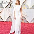 Karlie Kloss colocaba a Oscar de la Alfombra Roja Vestidos 2017 Fashion Celebrity Suelo Longitud Del Vestido Del Cabo Blanco Vestido de Noche de Encargo