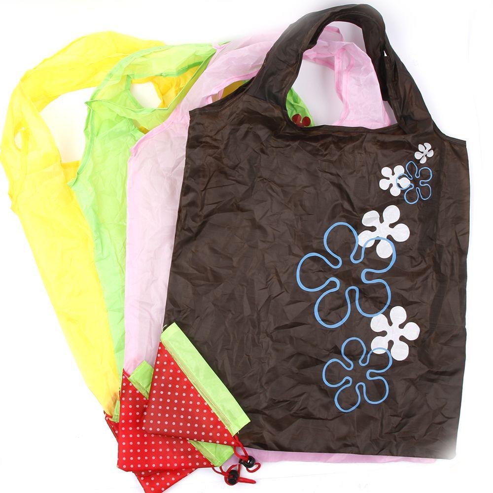 Fashion Storage Handbag Strawberry Grapes Pineapple Foldable Shopping Bags Reusable Folding Grocery Nylon Large Bag Random Color floral folding reusable grocery nylon bag large strawberry shopping bag cute travel tote