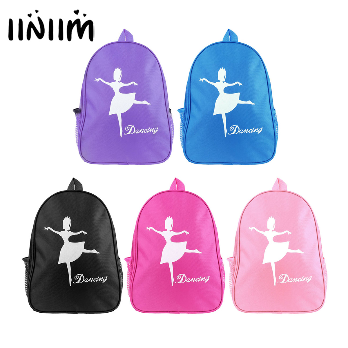 iiniim Kids Girls Lovely Fashion Ballet Dance Bag Students School Backpack Ballet Dancing Girl Print Ballerina Shoulder Bag