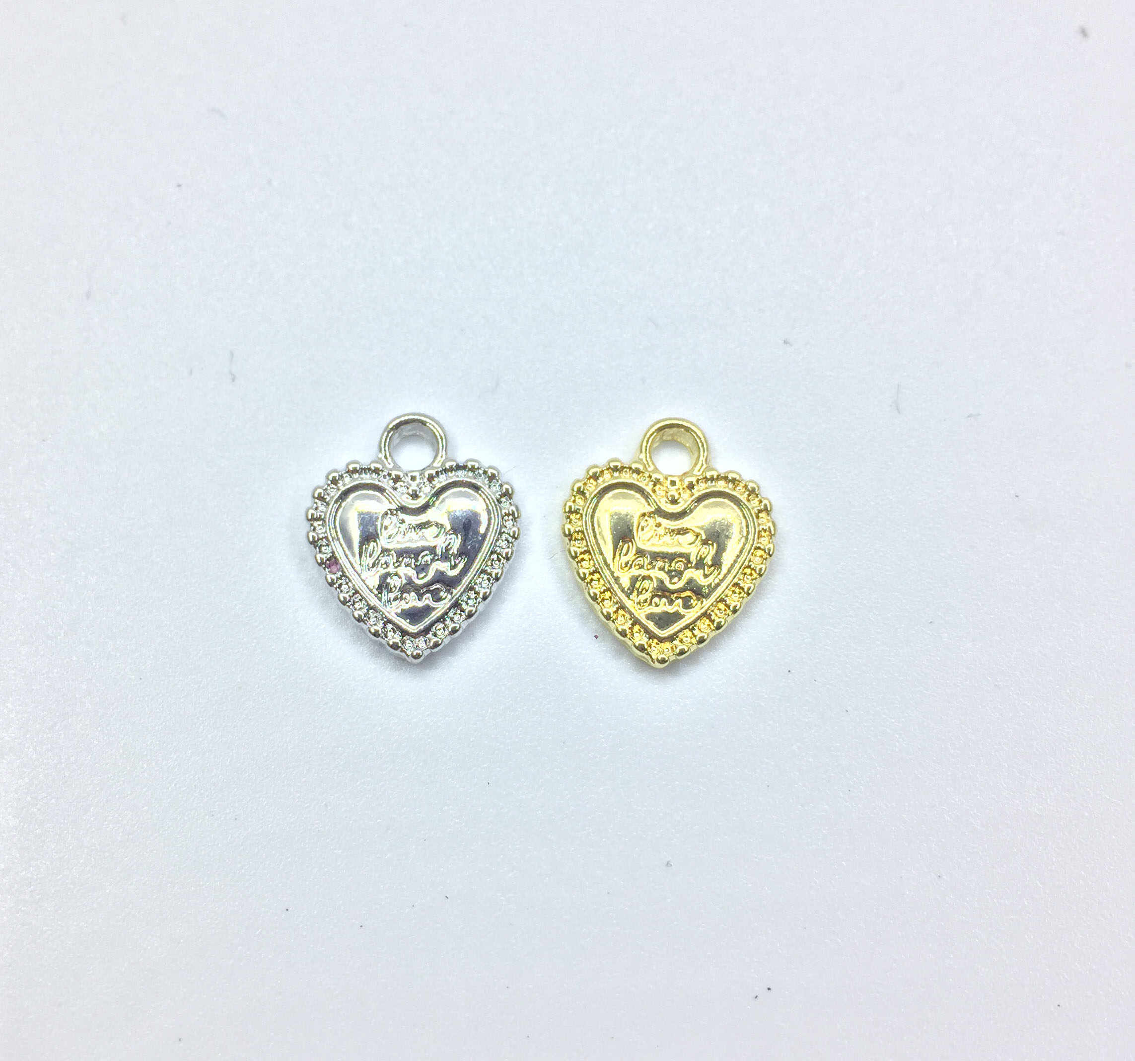 Eruifa 20pcs 12mm Nice Heart with Letters Coin Zinc Alloy necklace,earring bracelet jewelry DIY handmade 2 colors
