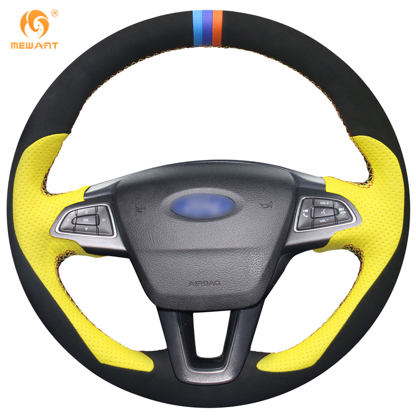 MEWANT Yellow Leather Black Suede Steering Wheel Cover for Ford Focus 3 2015-2018 Kuga 2016-2018 Escape 2017 2018 C-MAX 2015