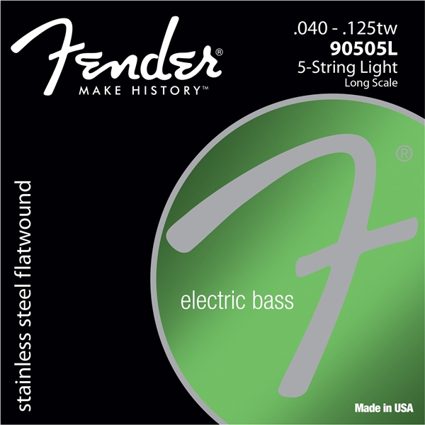 Fender 9050's Stainless Steel Bass Flatwound Strings, 5-String - 90505L 90505M rotosound rs88ld black nylon flatwound bass strings