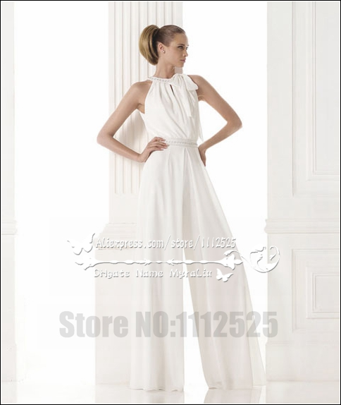 Awp 1005 Modern Bridal Dress Wedding Dresses Pant Suits White Chiffon Jumpsuit