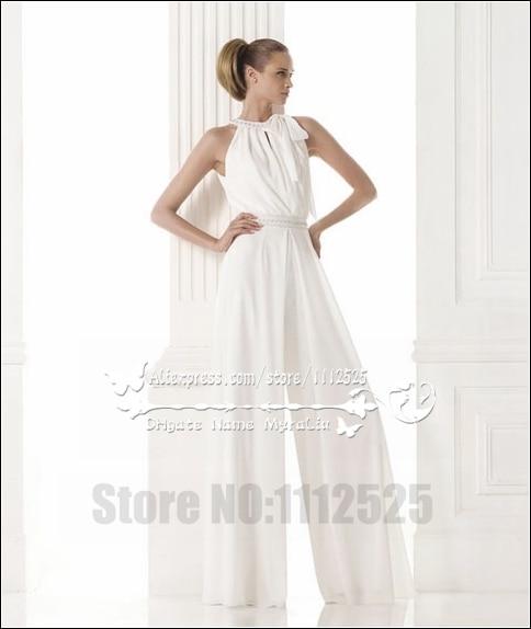 Awp 1005 Modern Bridal Dress Wedding Dresses Pant Suits White Chiffon Jumpsuit