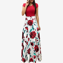 Women's Clothing Multicolor Flower Floral Print Long short Dress 2018 Summer Mixed Print Elegant Long Party Dresses недорого