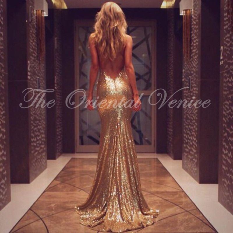 Rose Gold Prom Silvers: Popular Gold Sequin Prom Dresses-Buy Cheap Gold Sequin