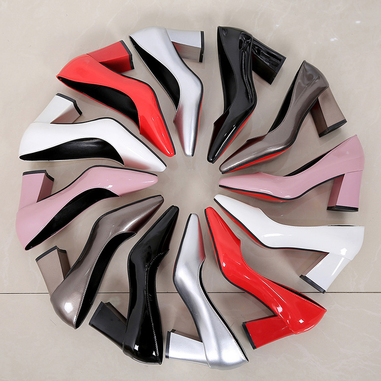 Womens Shoes Elegant High-Heels Pointed Thick Black Patent Professional OL Thin