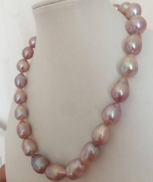 huge 14-15mm south sea baroque lavender pearl necklace 18inch 925silver