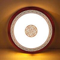 Novo estilo chinês de madeira acrílico esculpido vermelho redondo conduziu a lâmpada luz teto para foyer estudo corredor varanda quarto|ceiling light lamp|ceiling lights|round ceiling lamp -