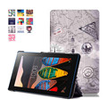 Print Style PU Leather Cover Stand Case for Lenovo Tab 3 7 essential 710 710F Tablet 7.0 inch + 2 Pcs Screen Protector Free
