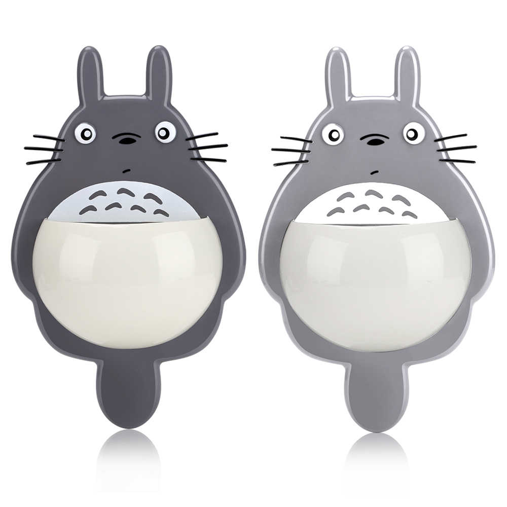 Sucker Storage Rack Totoro Toothbrush and Toothpaste Holders with 3 Suction Cups Wall Mirror Mounted Spoon Holders