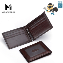 RFID Blocking Oil Wax Leather Deluxe Spring Money Clip ID Holder Wallet for Men Women Identity Theft And Credit Card Protection(China)