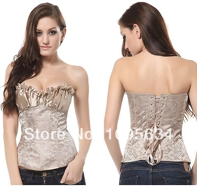corselet <font><b>Sexy</b></font> Women corsets and bustiers Creamy Lvory Renaissance Satin Lacing Corset Top 5424 blusas free shipping <font><b>2013</b></font> women image