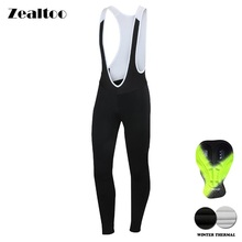 Zealtoo Winter Thermal Fleece Cycling Long Bicycle Bib Pants Gel Pad Bike Bib Tights Mtb Men Ropa Ciclismo Cycling Trousers spexcel high quality pro team winter thermal fleece cycling bib pants bicycle tights road mtb cool cycling gear with back pocket