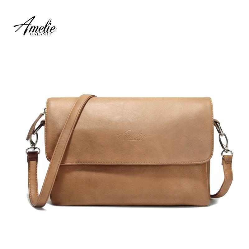 Prix pour AMELIE GALANTI marque bandoulière sac casual flap pu solide souple couverture de tirette polyvalent unique haute qualité coton célèbre designer