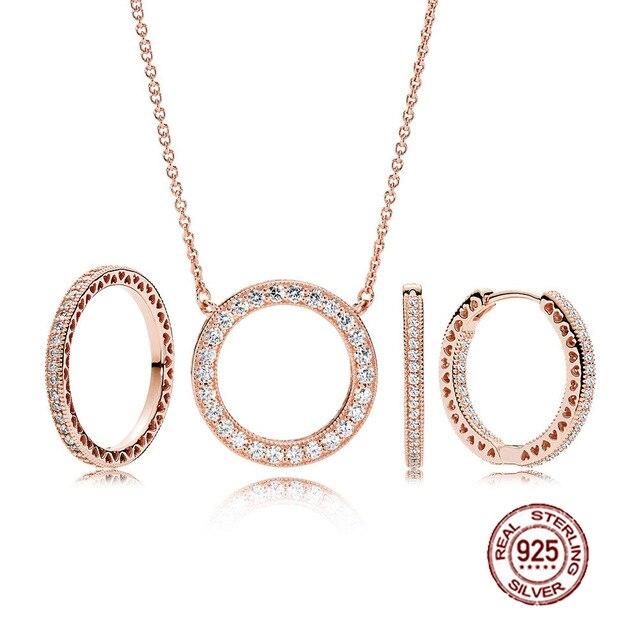 Nouvelle mode charmes 925 en argent Sterling Original PAN Rose anneaux costume pour femmes bijoux cadeau en gros usine