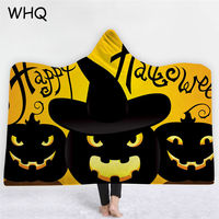 WHQ Halloween Hooded Wearable Blanket Pumpkin Witch Thick Blanket Winter Sofa Bedding Throw for Adults Kids Home Cobija Cobertor