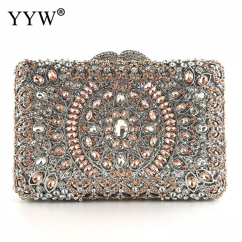 Crystal Women pink wedding handbags Evening Metal Clutches Bag luxury pearl hand bags Party Prom Bridal