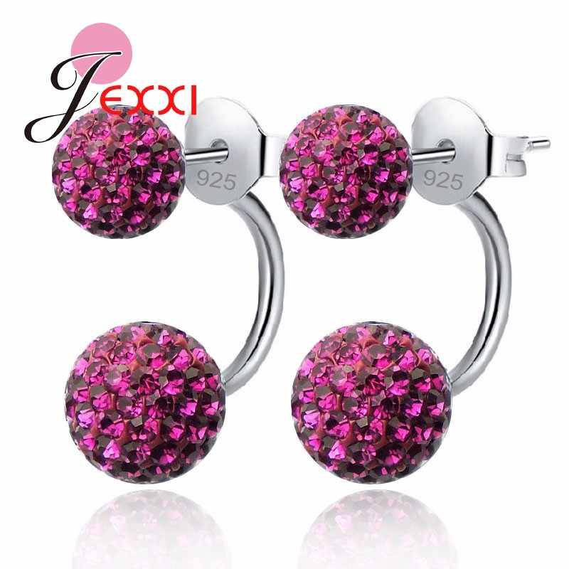 10 Colors Available Candy Color Shiny Full Crystals CZ Double Ball Stud Earrings For Women 925 Sterling Silver Jewelry