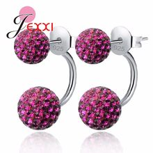 10 Colors Available Candy Color Shiny Full Crystals CZ Double Ball Stud Earrings For Women 925 Sterling Silver Jewelry(China)
