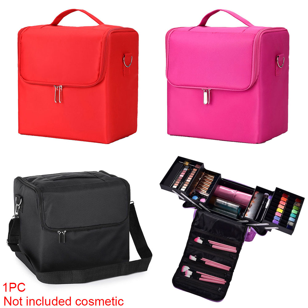Storage Jewellery Case With Carry Strap Multilayer Nail Art Makeup Bag Portable Vanity Box Zipper Cosmetics Organizer #137