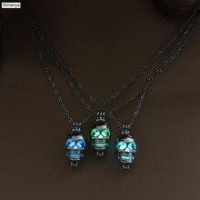 Wisiorek z czaszką naszyjnik Luminous biżuteria kolor srebrny 3 kolor świecące w ciemności naszyjnik dla kobiet i mężczyzn prezent urodzinowy