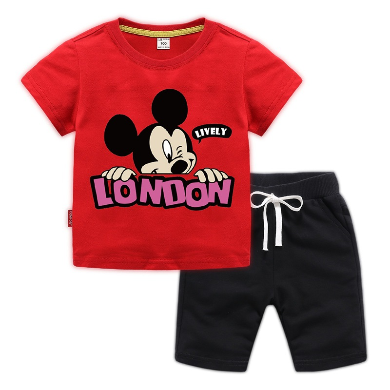 2019 Summer time Kids's 2Pcs Set Cotton Cartoon Mickey Mouse Quick Sleeve T-Shirt Prime+Pure Shade Shorts Women Boys Clothes Units Clothes Units, Low-cost Clothes Units, 2019 Summer time Kids's...
