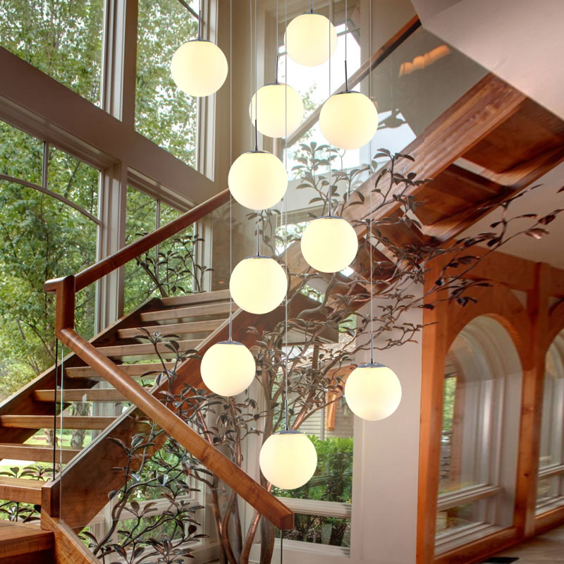 White Glass Pendant Light Kitchen Suspension Glass Ball Pendant Lamp Staircase Lights White Glass Lamp Dining Room Lamps Bedroom free shipping pendant lights rustic white candle iron 3 5 6 white lamps foyer pendant light restaurant dining pendant lamp