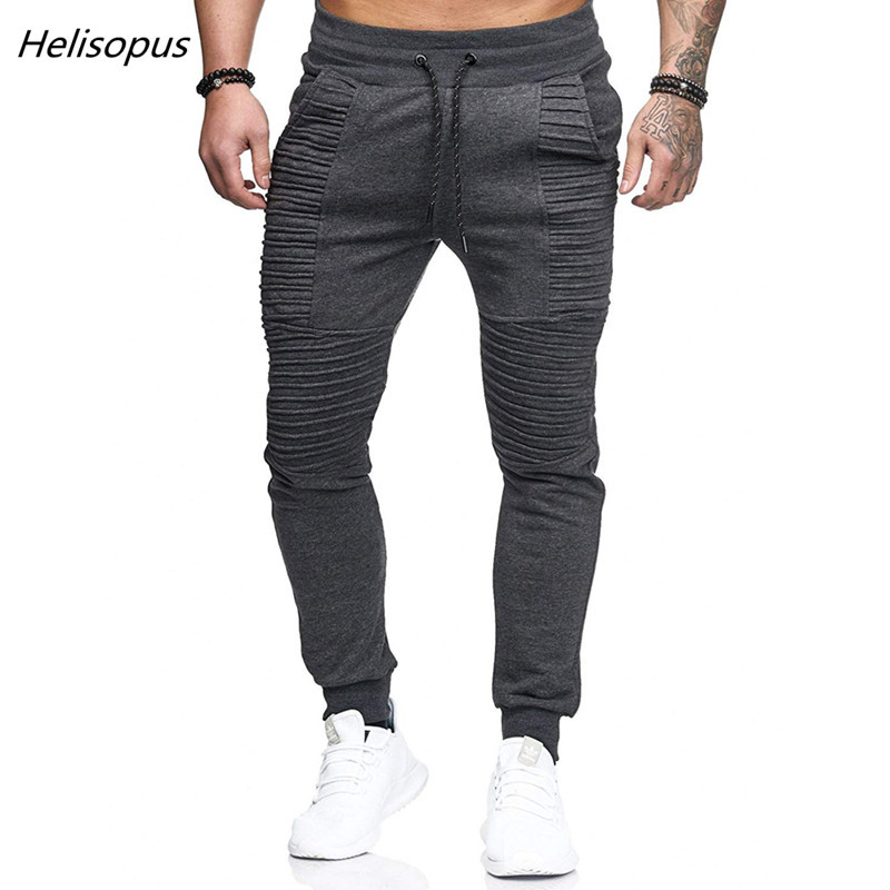 Helisopus Joggers-Pants Pleated-Trousers Solid-Sweatpants Male Casual Mens Fashion-Brand