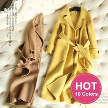 2019 Winter Coat Women Long Cashmere Alpaca Wool Coats With Belt High Quality