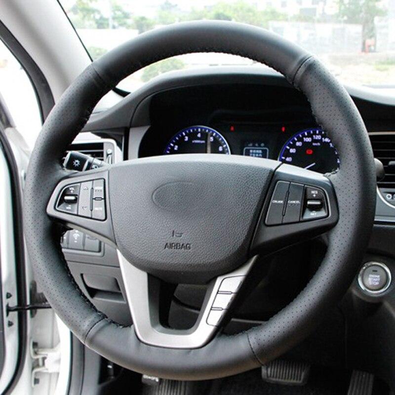 O Envio gratuito de Alta Qualidade Top Layer Couro do couro artesanal volante Costura cobre proteger Para Hyundai Mistra