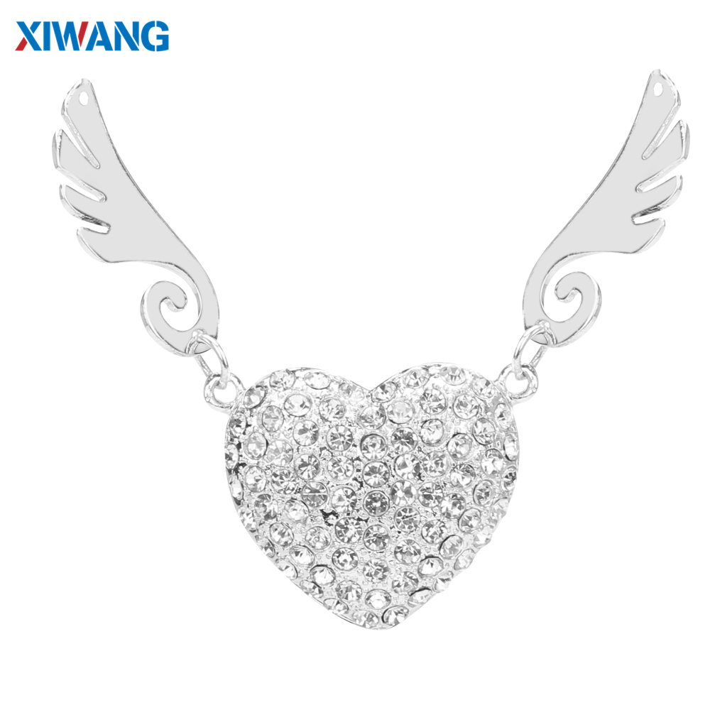 Crystal Necklace Heart USB Flash Drive 64GB 32GB Pen Drives 128GB 16GB 8GB 4GB USB 2.0 Pendrive Jewelry Memory Stick Girls Gift-in USB Flash Drives from Computer & Office