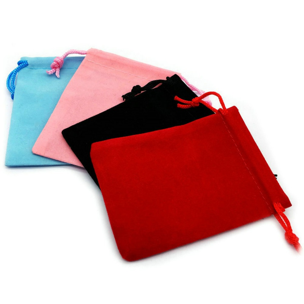 100pcs 7x9cm Velvet Drawstring Pouch Bag/Jewelry Bag Christmas/Wedding Gift Bags Black Red Pink Blue 5 Color Wholesale  -in Jewelry Packaging & Display from Jewelry & Accessories