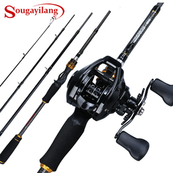 Sougayilang Casting Fishing Rod Reel Combo 1.8M-2.4M 4Sections Carbon Fiber Fishing Rod with 12+1BB 7.1:1 Baitcasting Reel Pesca