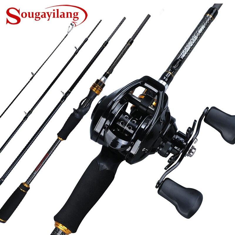 Sougayilang coulée canne à pêche moulinet Combo 1.8 M-2.4 M 4Sections en Fiber de carbone canne à pêche avec 12 + 1BB 7.1: 1 Baitcasting bobine Pesca