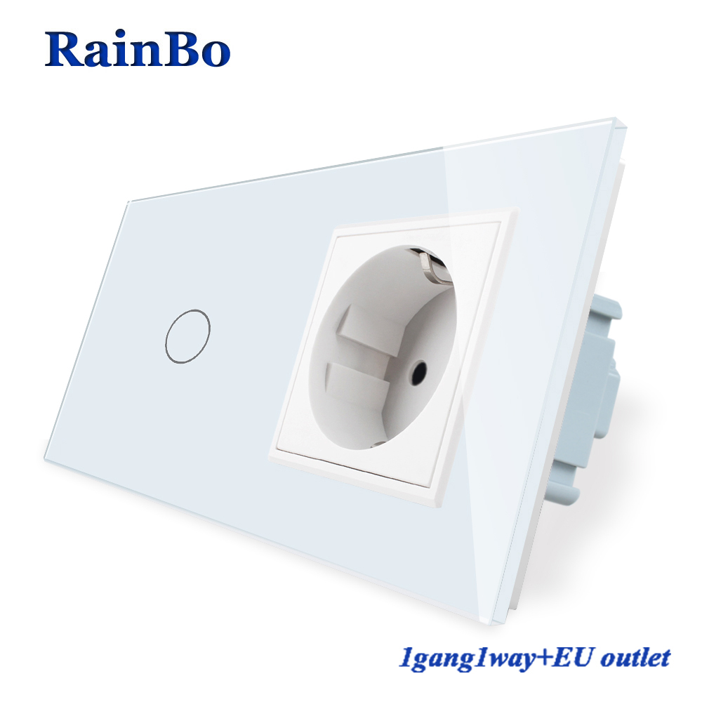 RainBo Luxury-Touch Screen-Control Tempered-crystal Glass-Panel Wall-Light  1gang-1way Touch-Switch+EU Wall-Socket  A29118ECW/B