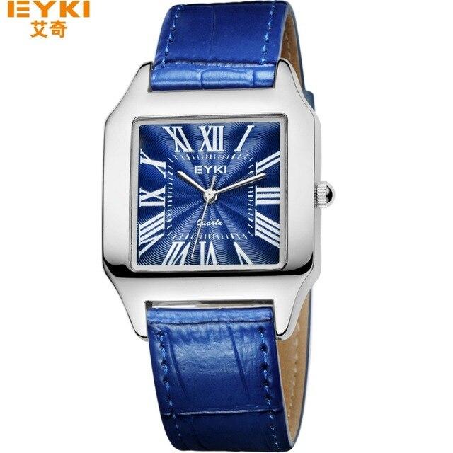 Eyki 2017 amantes de la marca vestido relojes hombres mujeres square reloj de cuero genuino correa de reloj de moda a prueba de agua relojes mujer