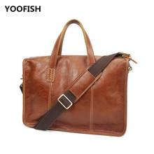 купить Classic brown/Coffee Genuine Leather men's bag business men's bag briefcase shoulder messenger bag Free Shipping. дешево