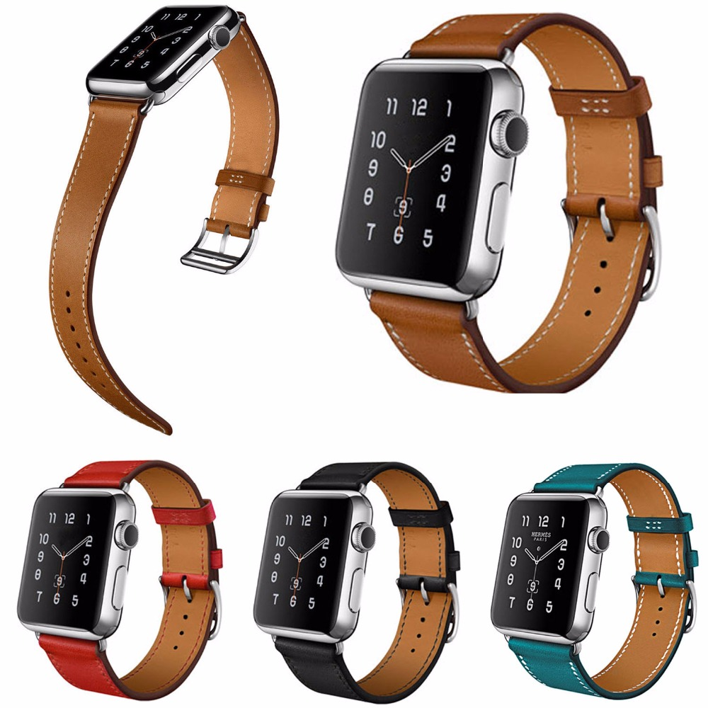 Genuine Leather Watchband for Apple Watch Band Series 3 2 1 Bracelet Wristband for iWatch Leather Strap 42MM 38MM cowhide genuine leather strap watch band for apple watch iwatch series 1 series 2 38mm 42mm wristband replacement with adapter