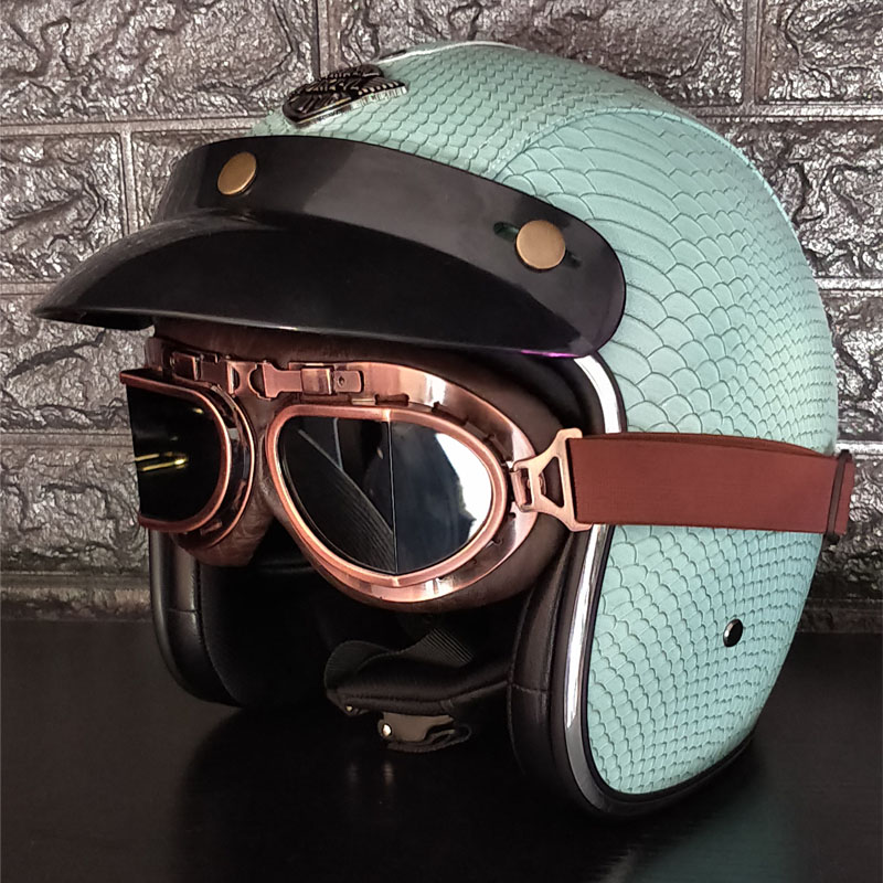 New Synthetic Leather Motorcycle Helmet Retro Vintage Cruiser Chopper Scooter Cafe Racer Moto Helmet 3/4 Open Face Helmet new leather motorcycle helmet retro vintage steampunk cruiser chopper scooter cafe racer moto helmet 3 4 open face helmet dot