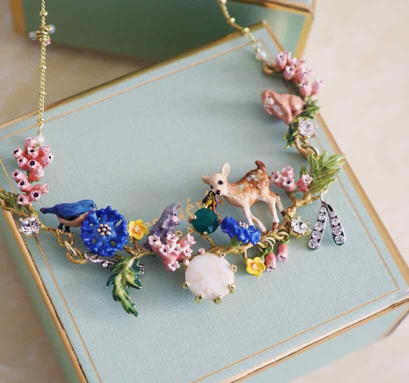 CSxjd 2019 New Enamel Glaze Forest Series Fawn Rabbit Butterfly Gem Flower Necklace women's jewelry, wedding, party accessories