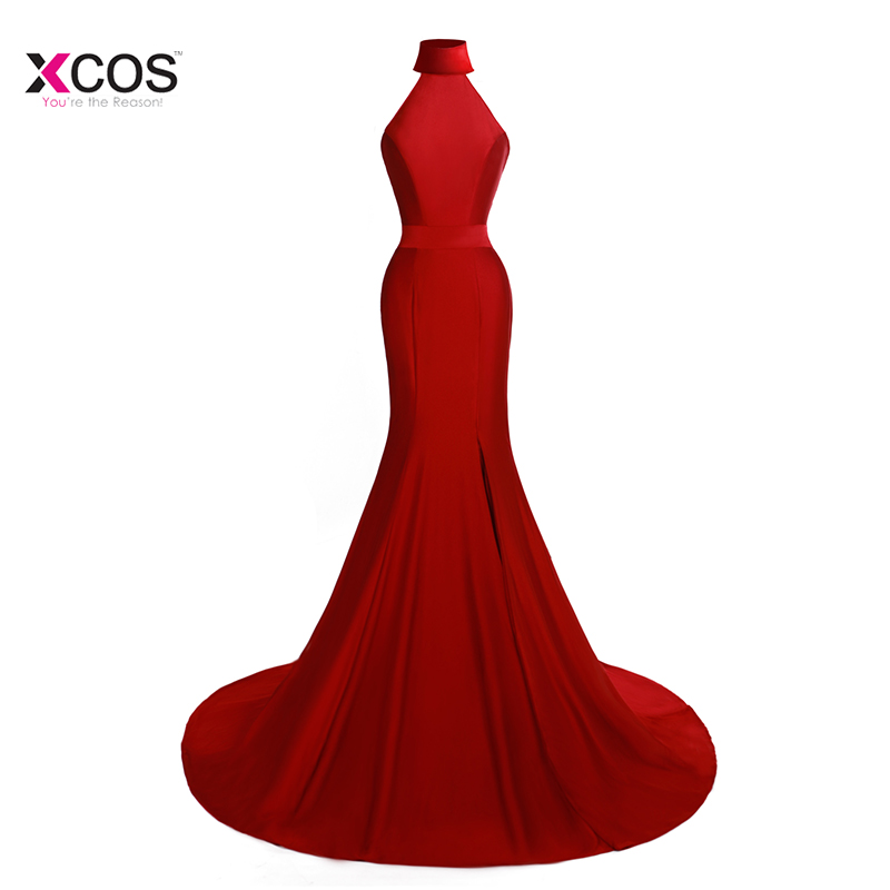 db99f586ed5 Sexy Red Green White Black Mermaid Evening Dress High Neck Split Side Formal  Long Evening Gown