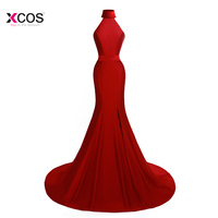 Sexy Red Green White Black Mermaid Evening Dress High Neck Split Side Formal Long Evening Gown Jersey Sleeveless Prom Dresses